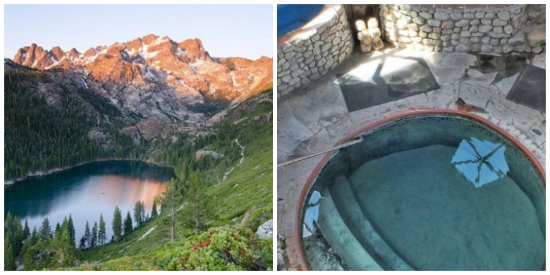 sierra lake and hot pool collage